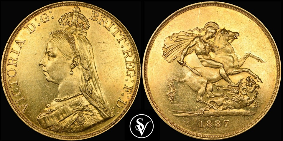 1887 Victoria 5 pound gold sovereign