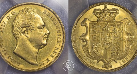 1831 William IV gold sovereign shield AU55 PCGS