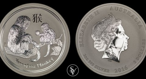 2016 2 ounce silver year of the monkey