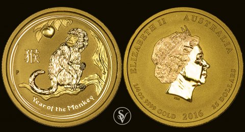 2016 25$ gold Australia Year of the monkey