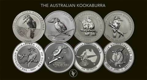 Collection of silver Kookaburra 1990-2017  1 ounce