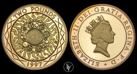 1997 Elizabeth II proof double sovereign Celtic