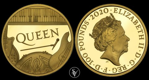 2020 100 pounds Queen Music Legends 1 ounce proof coin