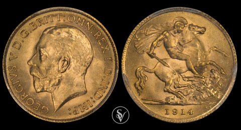 1914 George V gold half sovereign MS65 PCGS