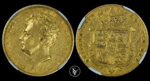1825 George IV gold sovereign XF40 NGC