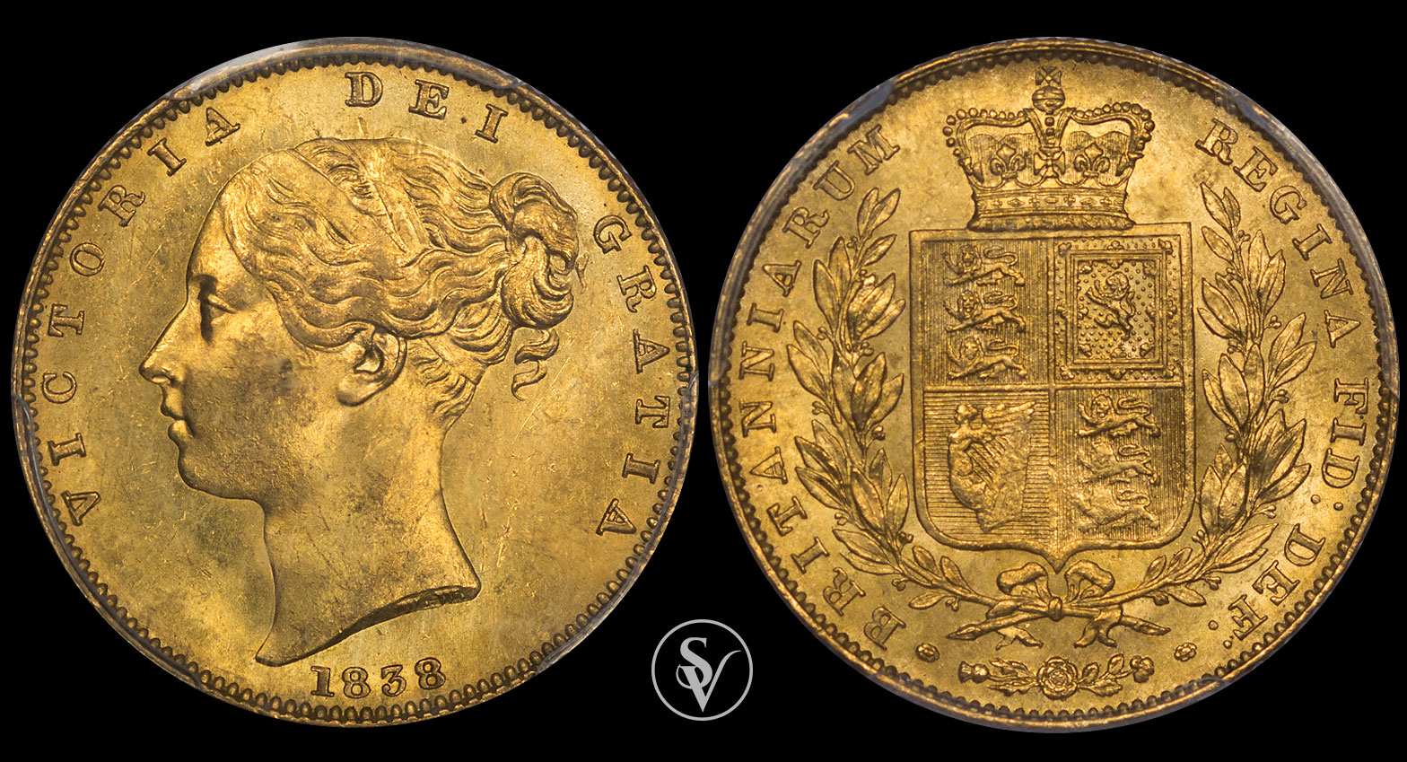 1838 Victoria gold sovereign shield