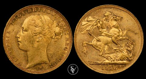 1886 M Victoria Young Head St George MS62 PCGS