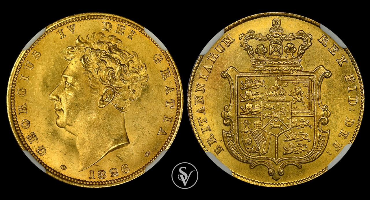 1826 George IV gold sovereign MS65 NGC