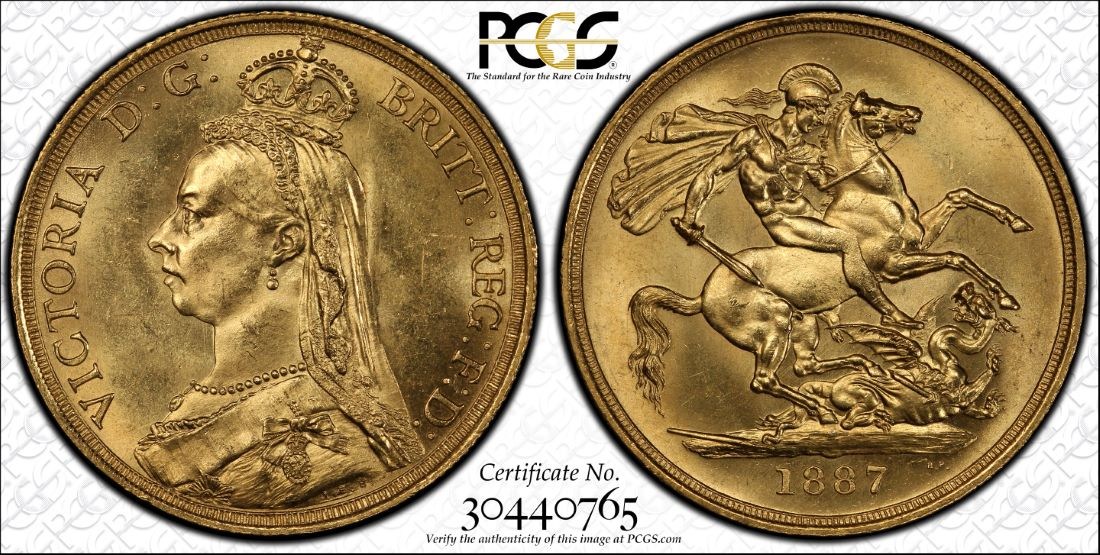 1887 Victoria double sovereign MS64