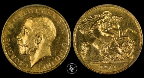 1911 George V proof half sovereign PR64 PCGS