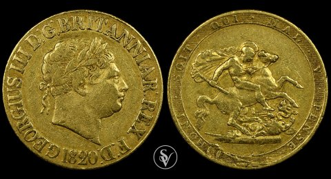 1820 George III gold sovereign closed 2