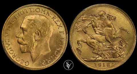 1918 - I gold sovereign George V MS65 PCGS