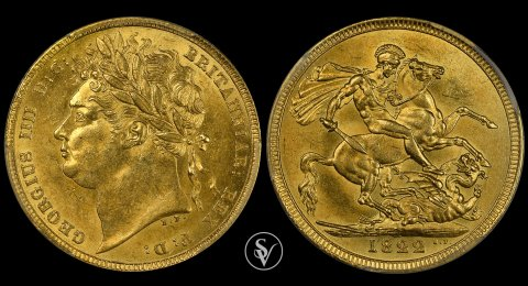 1822 George IV gold sovereign MS62 PCGS