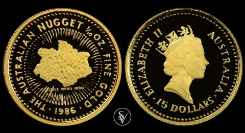 1986 Australian Nugget  15$ gold proof coin