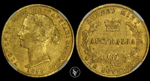 1859-SY Victoria gold sovereign AU50 NGC