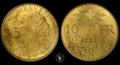 1922 Switzerlan 10 Francs gold MS66 NGC