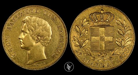 1833 20 Drachmai gold King Otto