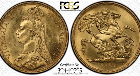 1887 Victoria double sovereign MS64 PCGS