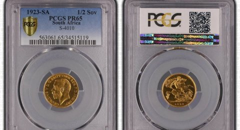 1923 SOUTH AFRICA George V Gold Half Sovereign PR65 PCGS