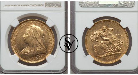 1893 Victoria 5 pound gold MS61 NGC