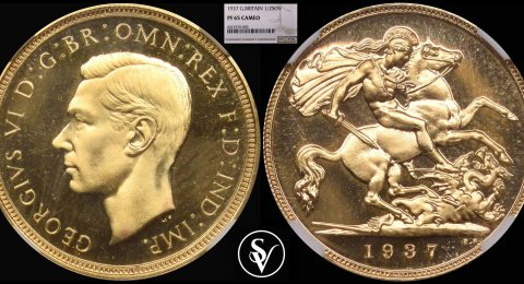 1937 George VI proof half sovereign 65 cameo NGC