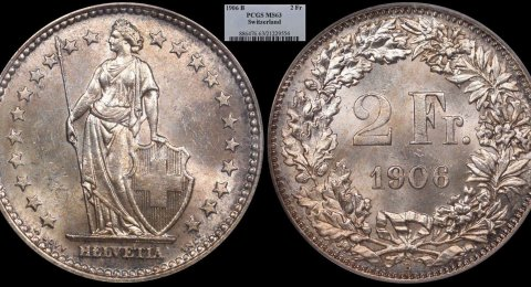 1906 B Helvetia silver 2 Francs MS63 PCGS