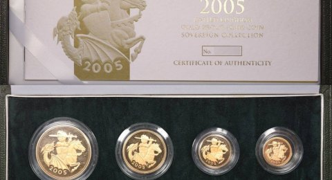 2005 Proof sovereign 4-coin set with the Knight
