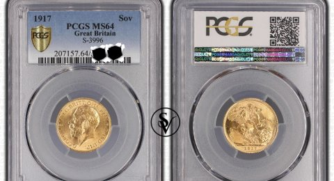 1917 Gold Sovereign London mint MS64PCGS