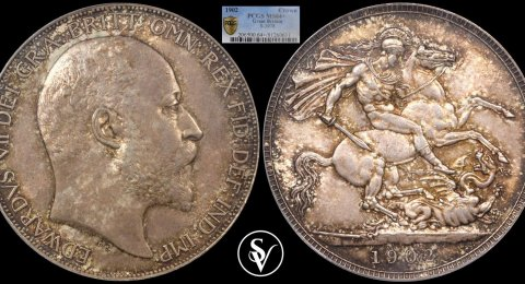 1902 Edward VII silver Crown MS64+ PCGS