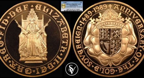 1989 Elisabeth II Tudor Rose Five Pounds PR69DCAM