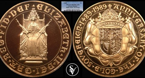 1989 Elisabeth II Double sovereign Tudor Rose PR70CAM