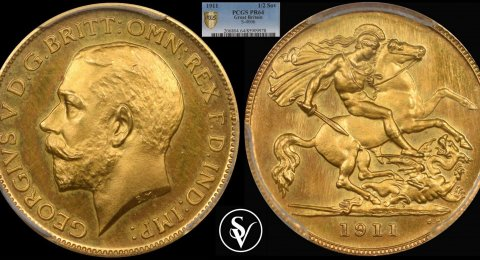 1911 George V proof half sovereign 64 PCGS