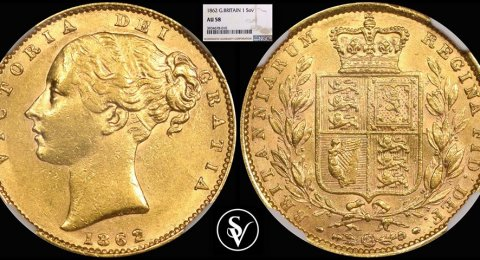 1862 Victoria gold sovereign AU58 NGC