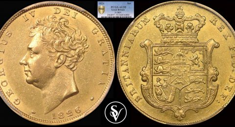 1826 George IV gold sovereign AU55 PCGS