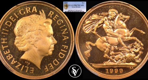 1999 Elizabeth II proof gold sovereign PF67DCAM PCGS