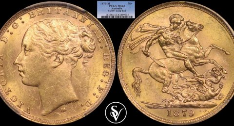 1879 - M Victoria Young Head gold sovereign MS62 PCGS