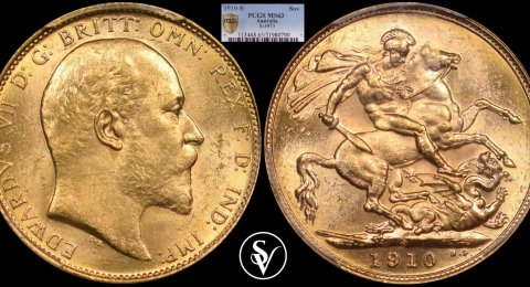 1910 S Edward gold sovereign MS63 PCGS