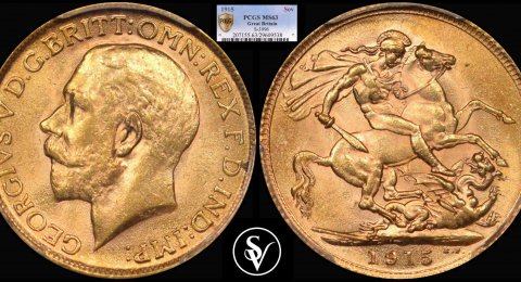 1915 S George V gold sovereign MS63