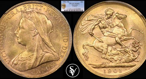1901 M Victoria gold sovereign MS62 PCGS