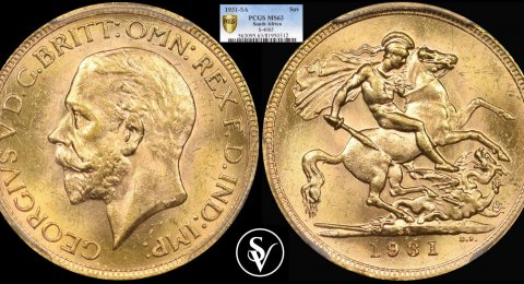 1931 SA George V gold sovereign MS63 PCGS