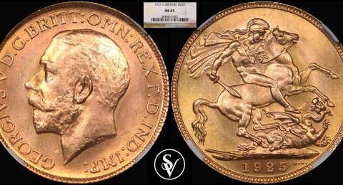 1925 George V gold sovereign MS65 NGC