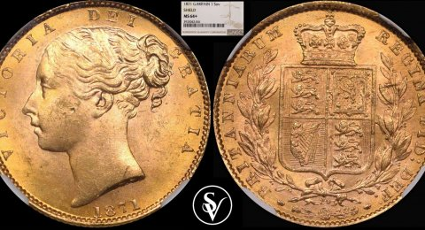 1871 Victoria gold sovereign shield MS64+ NGC