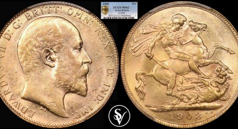1908 Edward VII gold sovereign MS62 PCGS