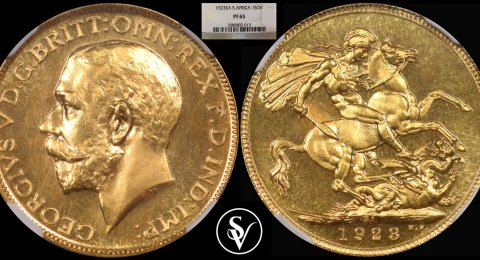 1923 George V South Africa gold sovereign  PF65 NGC