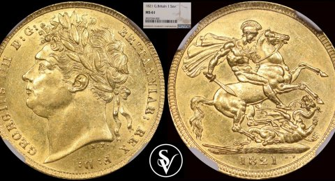 1821 George IIII gold sovereign MS61 NGC