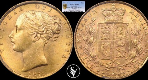 1871 Victoria gold sovereign shield MS63 PCGS