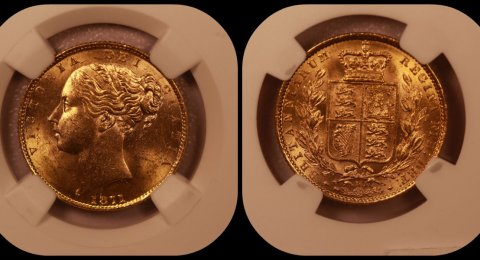 1871 Gold Sovereign Shield MS 64 NGC