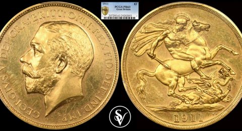 1911 George V proof double sovereign PR63 PCGS