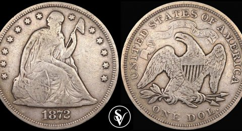 1872 1 dollar silver Seated Liberty