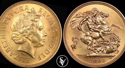 2001 Elizabeth II gold sovereign BU